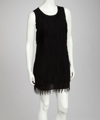 Black Fringe Sleeveless Dress