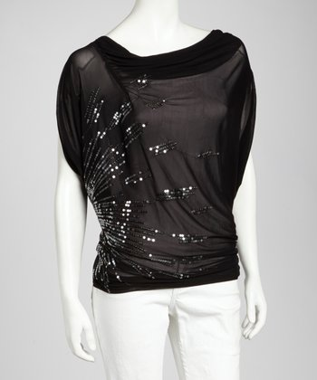 Black Sequin Drape Top