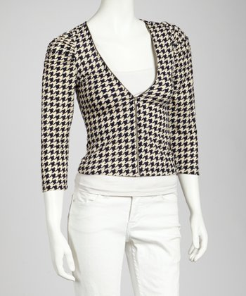 Ivory & Black Herringbone Zip-Up Jacket