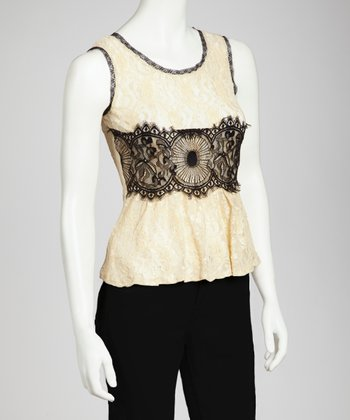 Nude & Black Lace Tank