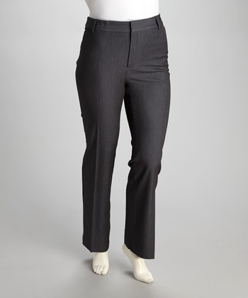 Gray Slash-Pocket Trouser Pants - Plus