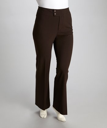 Chocolate Double-Button Trouser Pants - Plus