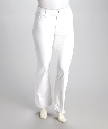 White Modern Straight-Leg Jeans - Plus