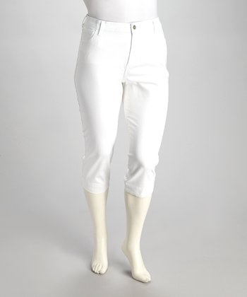 White Nicole Capri Pants - Plus