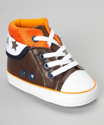 Brown & Orange Hi-Top Sneaker