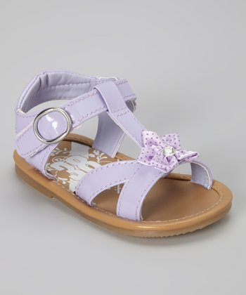 Purple Polka Dot Bow T-Strap Sandal