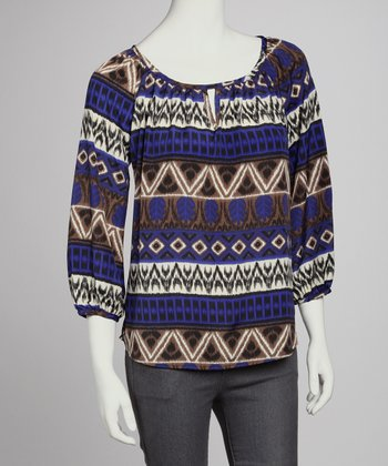 Blue & White Three-Quarter Sleeve Top