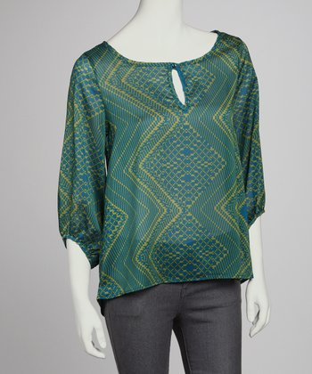 Green & Yellow Peasant Top
