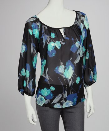 Black & Blue Floral Three-Quarter Sleeve Top