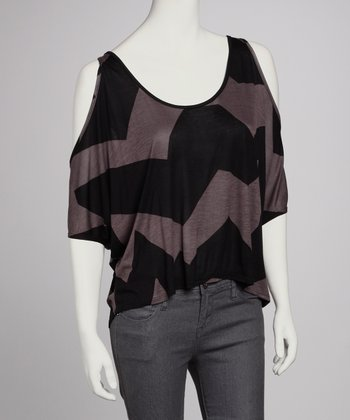 Black & Gray Cutout Top