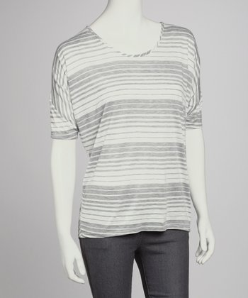 Gray & White Stripe Short-Sleeve Top
