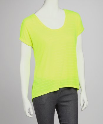 Neon Yellow Stripe Scoop-Neck Top