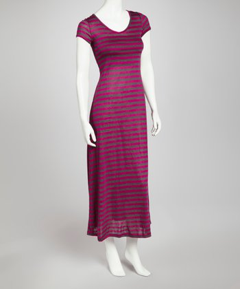 Magenta & Charcoal Stripe Maxi Dress