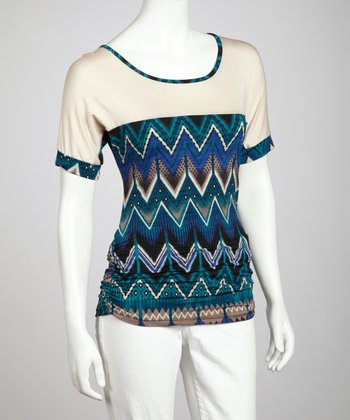 Teal Zigzag Three-Quarter Sleeve Top