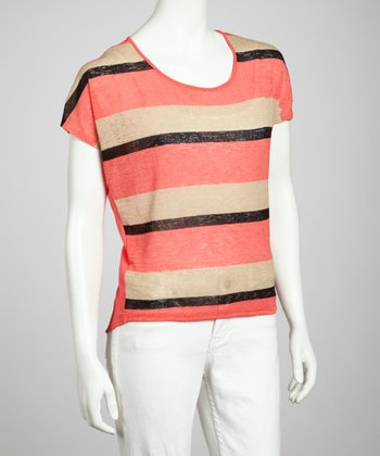 Coral & Beige Stripe Open Back Top