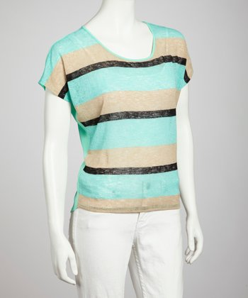 Mint & Beige Stripe Open Back Top