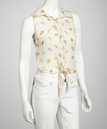 Ivory Butterfly Sleeveless Button-Up