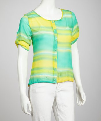 Mint & Yellow Tie-Dye Button-Up Top