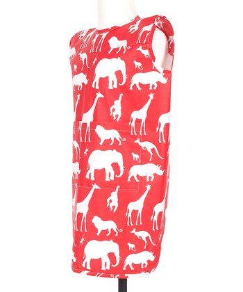 Red Animal Print Playtime Smock - Kids