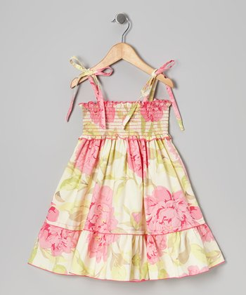 Pink & Green Floral Shirred Dress - Toddler & Girls