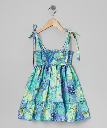 Teal & Blue Floral Shirred Dress - Toddler & Girls
