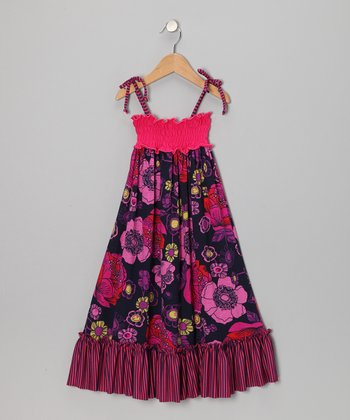Fuchsia Floral Ruffle Shirred Maxi Dress - Girls
