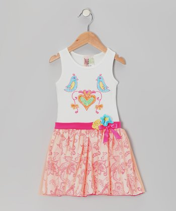 Orange & White Lovebird Dress - Girls