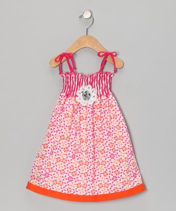 Orange & Pink Floral Shirred Dress - Toddler & Girls