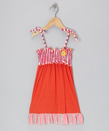 Orange & Pink Shirred Ruffle Dress - Infant & Toddler