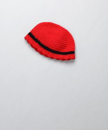 Red & Black Flapper Beanie - Infant & Toddler