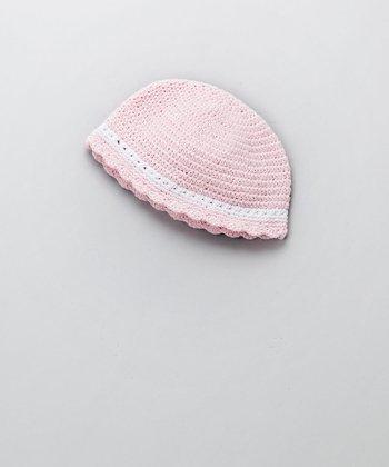 Pink & White Flapper Beanie - Infant & Toddler