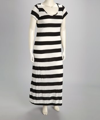 Black & White Stripe Short-Sleeve Plus-Size Maxi Dress