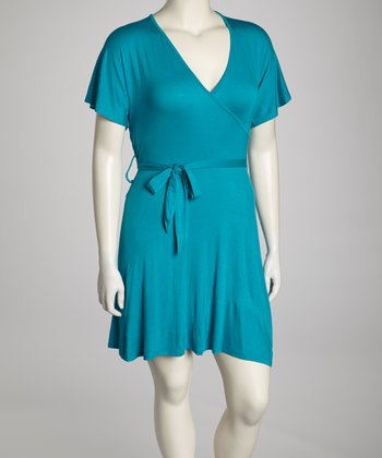 Jade Cape-Sleeve Plus-Size Surplice Dress