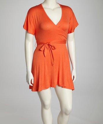 Orange Cape-Sleeve Surplice Dress - Plus
