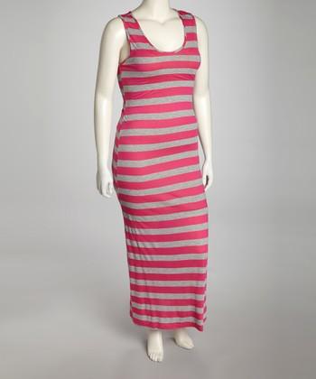 Fuchsia & Gray Stripe Sleeveless Maxi Dress - Plus