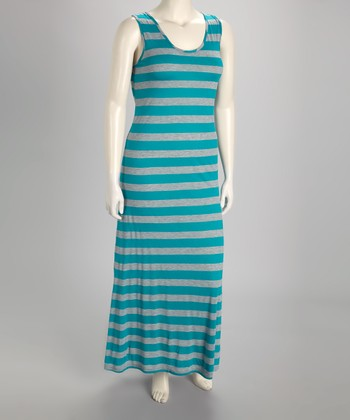 Jade & Gray Stripe Sleeveless Maxi Dress - Plus