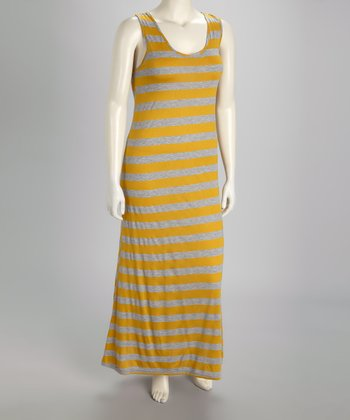 Mustard & Gray Stripe Sleeveless Plus-Size Maxi Dress