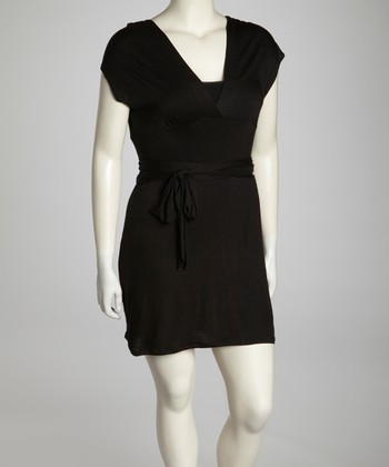 Black Tie-Waist Surplice Dress - Plus