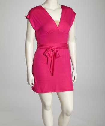 Fuchsia Tie-Waist Plus-Size Surplice Dress