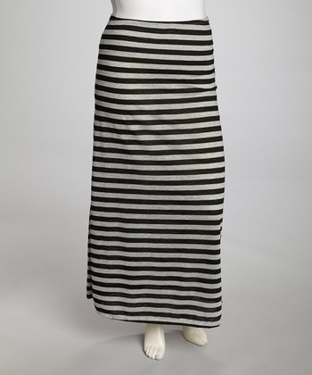Gray & Black Stripe Plus-Size Maxi Skirt