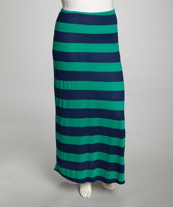 Green & Navy Stripe Maxi Skirt - Plus