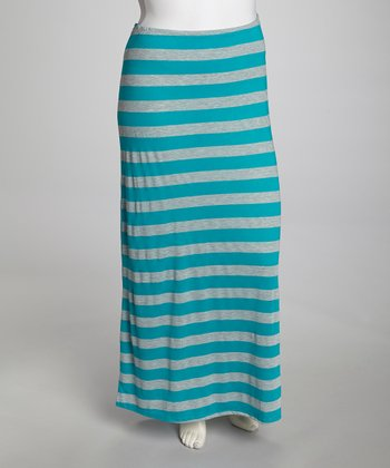 Jade & Gray Stripe Maxi Skirt - Plus