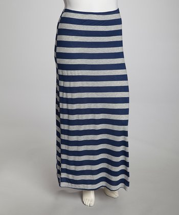 Navy & Gray Stripe Maxi Skirt - Plus