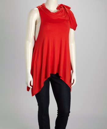 Rust Cowl Neck Handkerchief Tunic - Plus