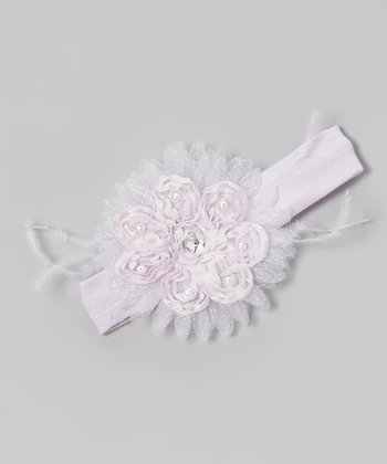 Violet Bead Gem Flower Headband