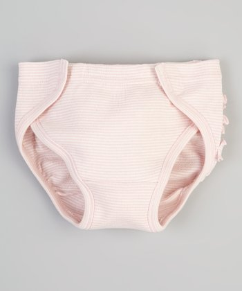 Pink Stripe Ruffle Organic Diaper Cover - Infant
