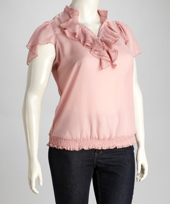 Pink Ruffle Top - Plus