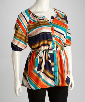 Coral & Teal Tunic - Plus