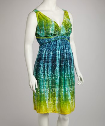 Green & Blue Tropical Surplice Dress - Plus