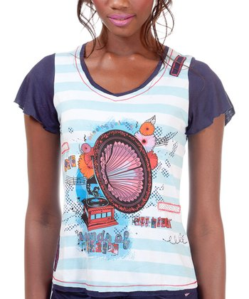 White & Blue Aretha Short-Sleeve Top